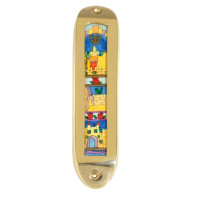 Large Brass and Wood Mezuzah (EM-MML)