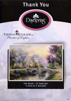 Boxed thank you Christian cards from Dayspring featuring the artwork of Thomas Kinkade.  12 card collection.