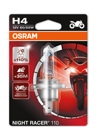 Osram H4 Night Racer Plus 12v 60/55w Motorbike bulb +110% more light (Single) (64193NR1-01B)