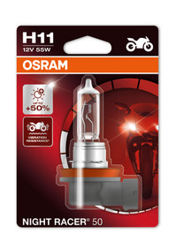 Osram H11 55w Night Racer +110% Motorbike bulb (Single) (64211NR1-01B)