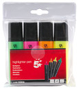 Office Highlighters - Assorted Colours - Pack of 4