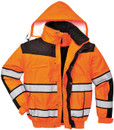 Hi-Vis Bomber Jacket - Orange/Black - Large