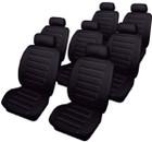 Car Seat Covers - Leatherlook - 7 Seater Set - Black