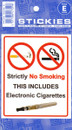 Indoor Vinyl Sticker - White - No Electronic Cigarettes