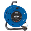 Four Socket Industrial Cable Reel - Blue - 25m