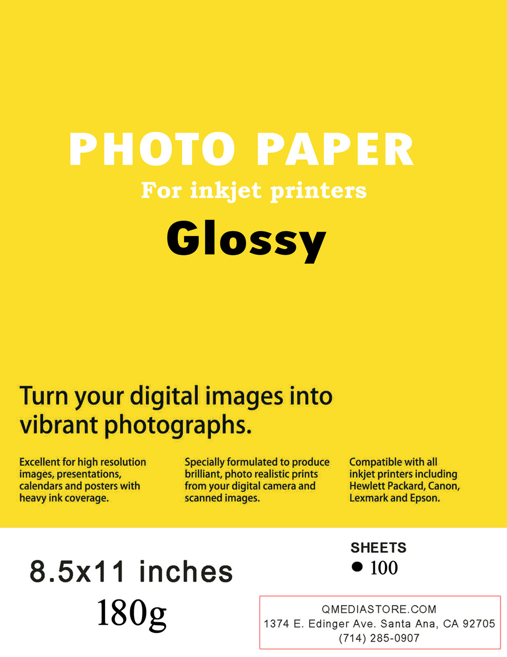 Premium Glossy Inkjet Photo Paper Letter Size 85 X 11 Inches 180g