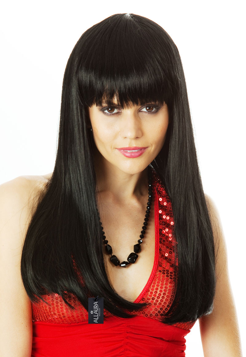 glamour girl - black costume wig (high quality fibre) -allaura
