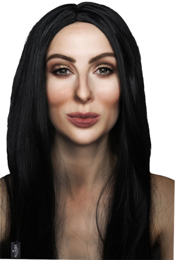 70's Cher - Long Black Costume Wig (High Quality Fibre) - by Allaura