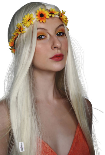 Happy Hippy 60's Long Blonde Costume Wig (High Quality Fibre) - by Allaura