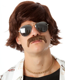 The 70's Shag Brown Costume Wig & Moustache Set