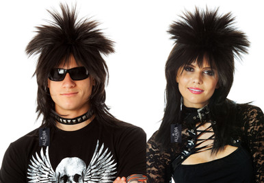 Black 80's Spiky Punk Mullet Costume Wig - Unisex - by Allaura