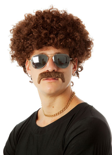 70's Fro & Mo Set - (Brown) Party Afro Costume Wig & Moustache