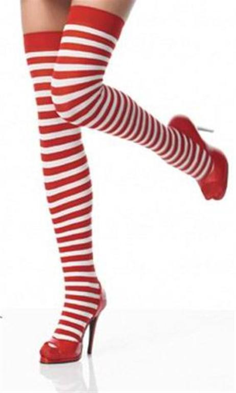 4df0011cf27 SOCKS - Red and White Striped Thigh High Socks - Where s Wally - The Wig  Outlet