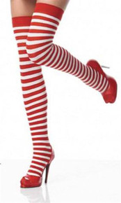 SOCKS - Red and White Striped Thigh High Socks - Where's Wally