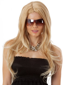 Supermodel Long Honey Blonde Costume Wig (High Quality Fibre)