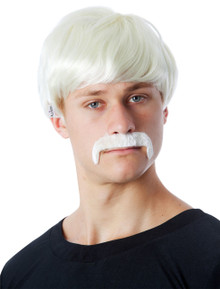 Hans the German Backpacker Blonde Short Costume Wig & Moustache Set - by Allaura