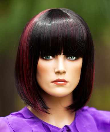 Ally (Black Highlighted with Burgundy 1H118) Premium Fashion Wig - Heat Resistant