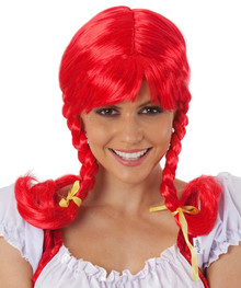 Pippi Longstocking Red Plaits Costume Wig with Fringe