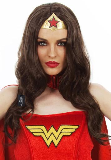 Super Heroine (Wonder Woman) Long Dark Brown Costume Wig - by Allaura