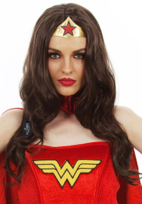 Super Heroine (Wonder Woman) Long Dark Brown Costume Wig - by Allaura