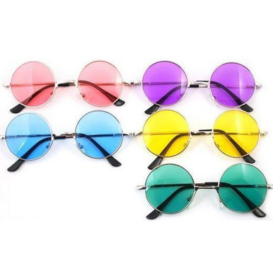SUNGLASSES - Hippie Coloured Circle Glasses