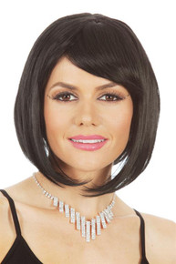 Glamour Long Black Bob Wig Womens 1920s Flapper Costume Wigs - by Allaura