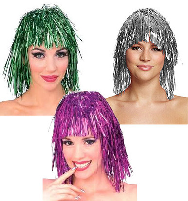 Tinsel Costume Wig - Silver, Pink or Green (5031)