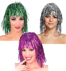 Tinsel Costume Wig - Silver or Green