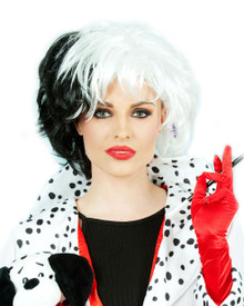 Cruella Half Black/White Costume Wig - by Allaura