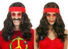 Hippy 60's (Unisex) Wavy Brown Costume Wig with Red Bandanna - Unisex