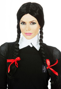 Wednesday Addams Black Plaits Costume Wig - by Allaura