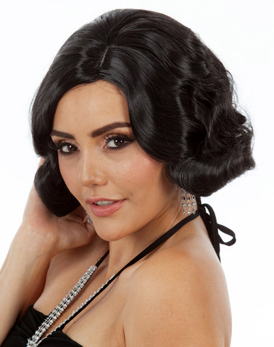 DELUXE Black Flapper 1920's Finger Wave Costume Wig