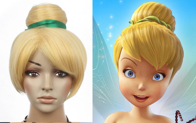 DELUXE Tinkerbell Blonde Bun Costume Wig - High Quality