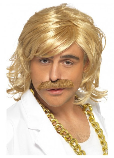 Game Show Host Costume Wig and Tash