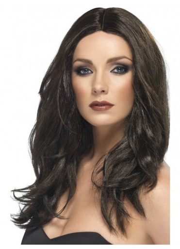 Superstar Dark Brown Long Wavy Costume Wig