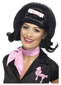 50's Flicked Beehive Black Bob Costume Wig