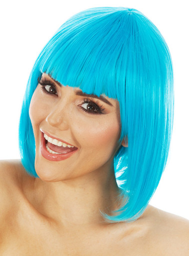 DELUXE Blue Long Bob Costume Wig