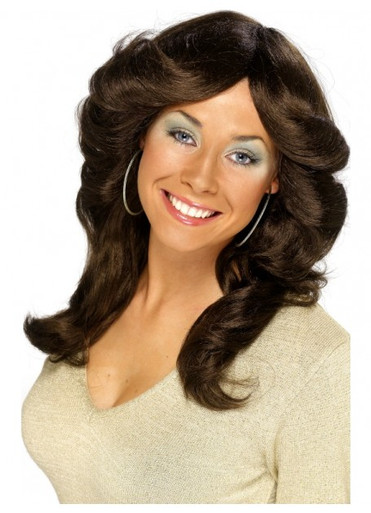 70's Brown, Long, Wavy Flick Costume Wig