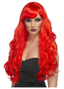 Desire Wig, Red, Long, Curly with Fringe