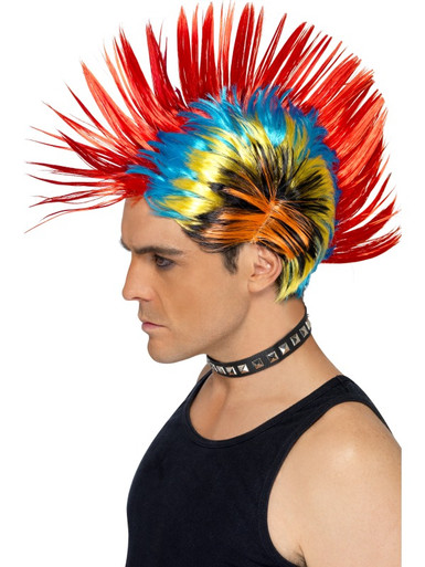 Colourful 80's Street Punk, Mohawk costume wig.