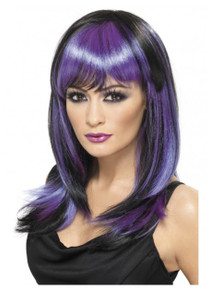 Glamour Witch Long Black and Purple Wig