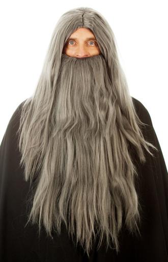 Long Grey Merlin Wizard Costume Wig & Beard