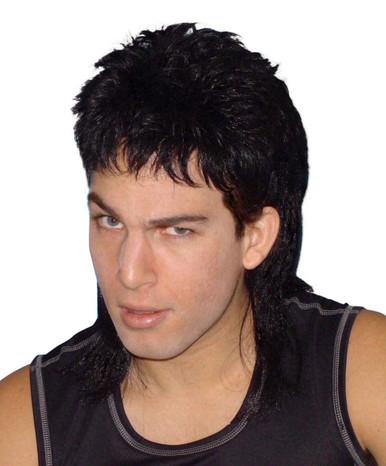 Mullet - 80's Black Classic Costume Wig