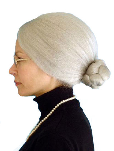 Granny Grey Costume Wig with Bun