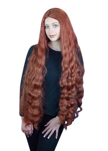 Ariel Mermaid Extra Long Auburn Wavy Costume Wig