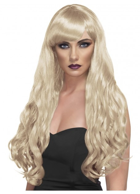 Long Long Aqua Wavy Wig Aqua Desire Wig Curly with Fringe