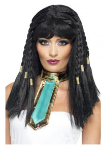 Black Egyptian Cleopatra Costume Wig with Golden Plaits
