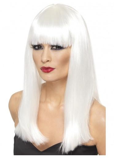 White Long Straight Glamourama Costume Wig - Lady Gaga