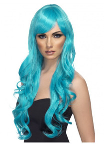 Desire Long Aqua Blue Wavy Costume Wig with Fringe