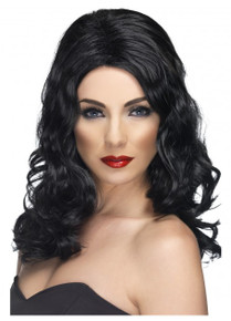 Black Long and Wavy Glamorous Costume Wig